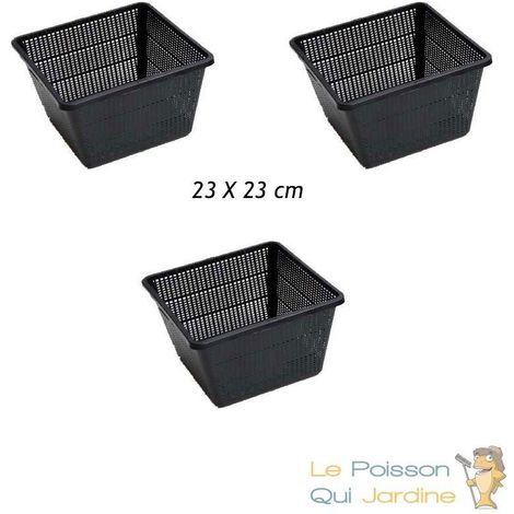 3 Paniers 23 X 23 pour plantes de bassins de jardin et étangs - Noir
