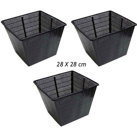3 Paniers 28 X 28 cm pour plantes de bassins de jardin et étangs - Noir