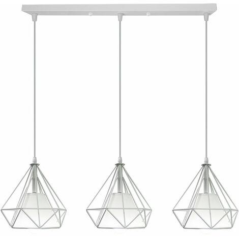 3 Pantallas Lampara Colgante forma Diamantes Combinación Vara Luz de Techo Jaula de Hierro Metal Ø20cm Para Cocina Sala Retaurante Bar (Blanco)