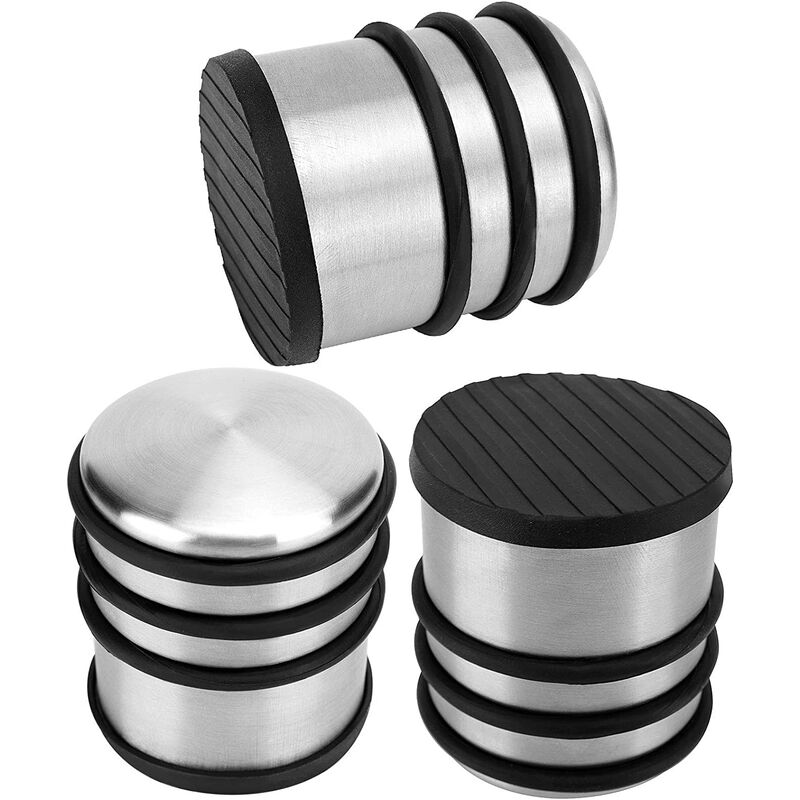 Briday - 3 PCS 2.88 x 3.2 Inch Heavy Duty Door Stopper, 2.38 Lb No Drill Premium Stainless Steel Round Door Stops with Anti-Skid Silicone Treads, for
