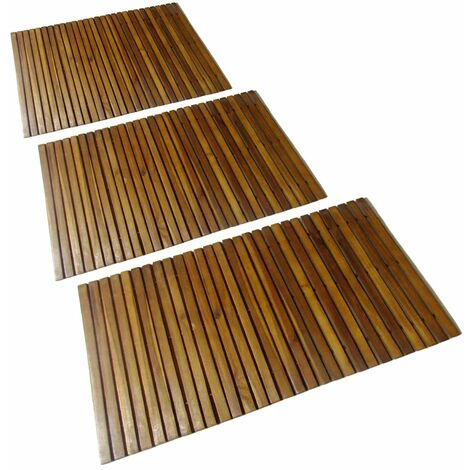 3 pcs Acacia Bath Mat 80 x 50 cm - Brown