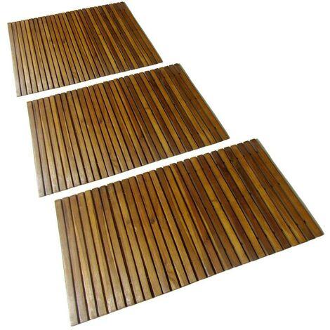3 pcs Acacia Bath Mat 80 x 50 cm VD15508