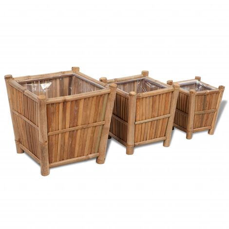 3 pcs Bamboo Planter with Nylon Lining