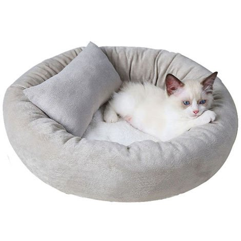 3 Pcs Comfortable Cat Bed Cuddly Round Dog Ultra Soft Washable Dog And Cat Cushion Bed Winter Warm Sofa