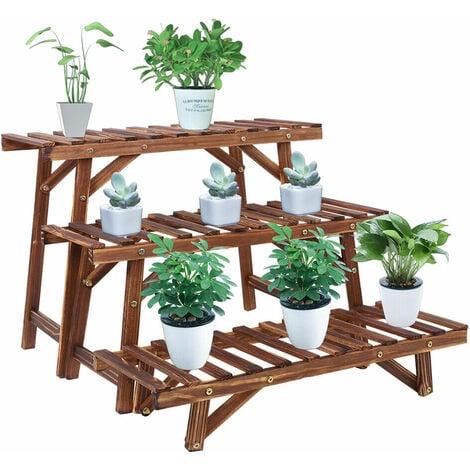 3 Pcs Corner Plant Shelf Rack Ladder Step Heavy Duty Flower Pot Stand Holder