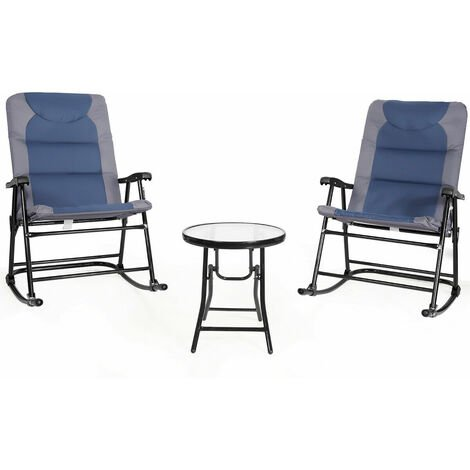 """main image of """"3 PCS Garden Furniture Bistro Set Rocking Padded Chairs Round Glass Coffee Table Blue"""""""