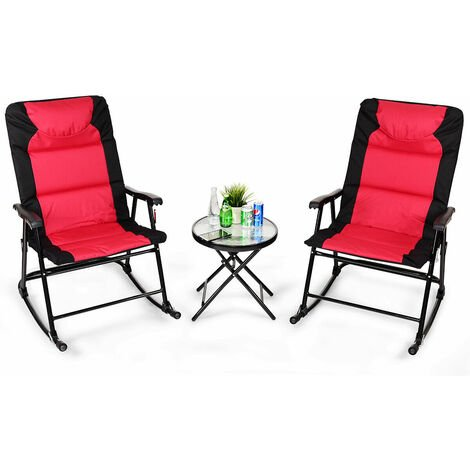 """main image of """"3 PCS Garden Furniture Bistro Set Rocking Padded Chairs Round Glass Coffee Table Red"""""""