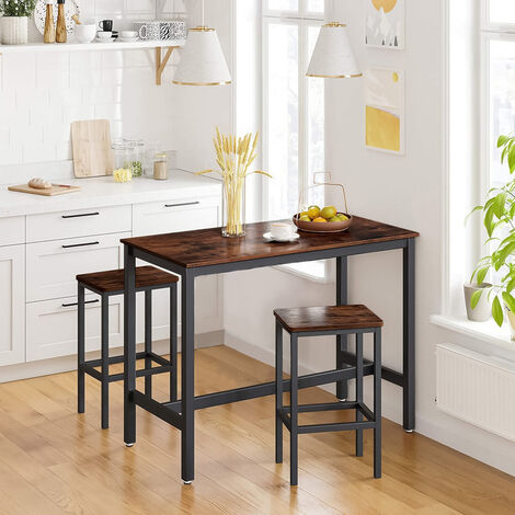 3 PCS Kitchen Breakfast Dining Bar Set-1 Table and 2 Stools