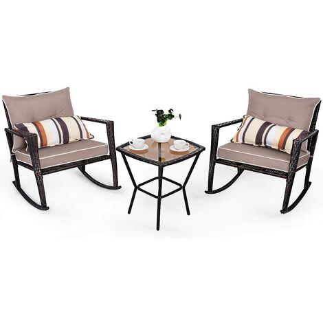 3 PCS Rattan Garden Furniture Bistro Set Rocking Chairs & Dinning Coffee Table