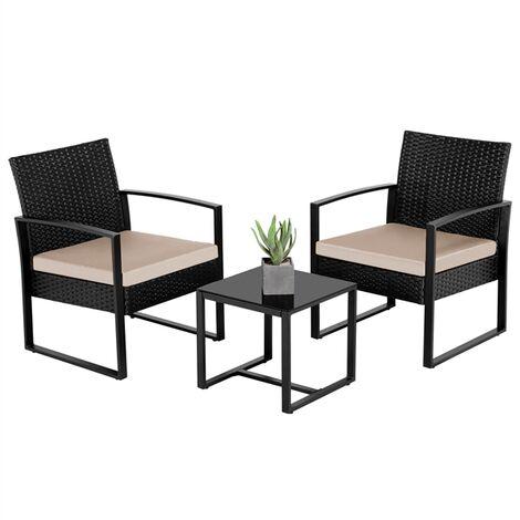 3 PCS Rattan Wicker furniture Set 2 Seater Wicker patio conservatory Dining Set Indoor Outdoor Modern Bistro Set