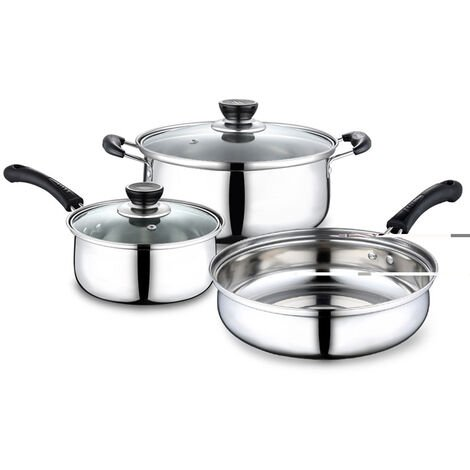 3 Pcs / Set Stainless Steel Kitchenware Polish Cookware With Frying Pan