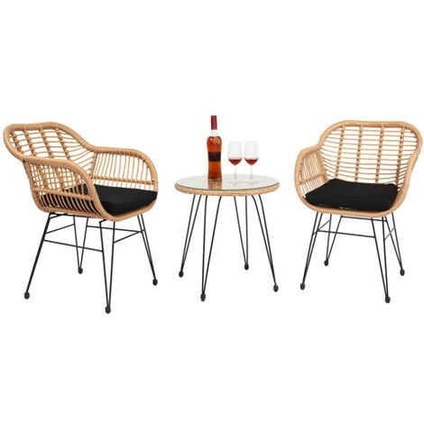"""main image of """"3 pcs Wicker Rattan Patio Conversation Set with Tempered Glass Table"""""""
