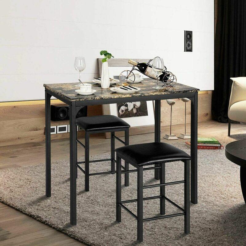 3 Pezzi Tavolo con 2 Sedie Set Mobile da Pranzo Mobili da Cucina