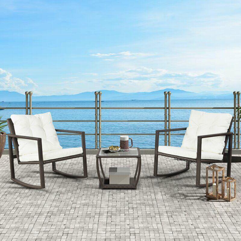 3 Pièces Salon de Jardin en Résine tressée avec 2 Fauteuils et 1 Table ,Coussins Inclus(Blanc) - Blanc