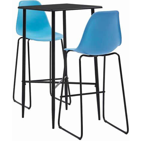 3 Piece Bar Set Plastic Blue