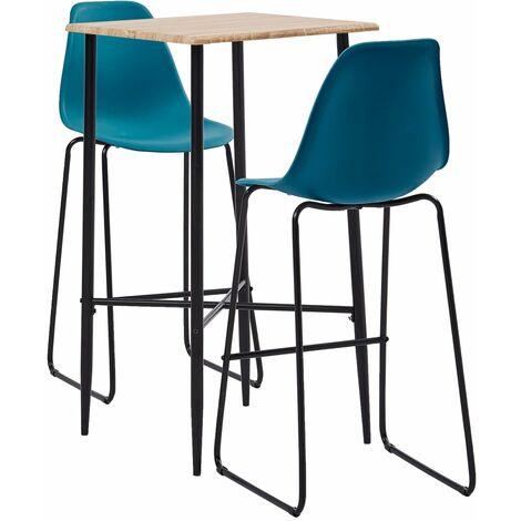 3 Piece Bar Set Plastic Turquoise