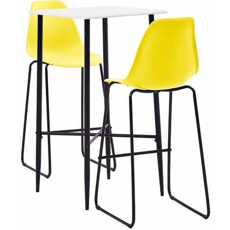 3 Piece Bar Set Plastic Yellow