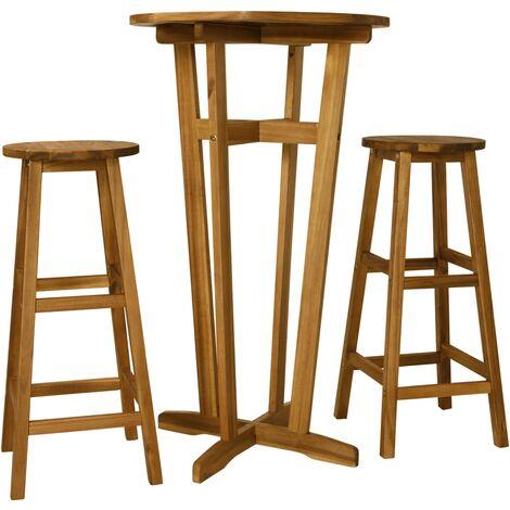 3 Piece Bar Set Solid Acacia Wood