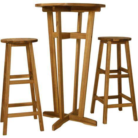 3 Piece Bar Set Solid Acacia Wood - Brown