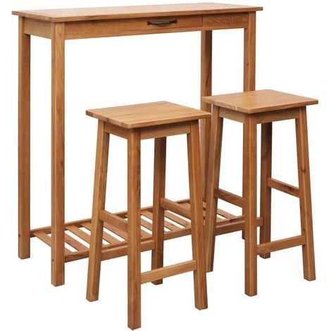 3 Piece Bar Set Solid Oak Wood