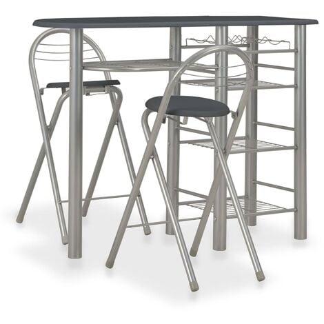 3 Piece Bar Set with Shelves Wood and Steel Black - Black