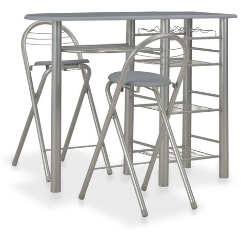 3 Piece Bar Set with Shelves Wood and Steel Grey - Grey