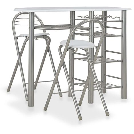 3 Piece Bar Set with Shelves Wood and Steel White - White