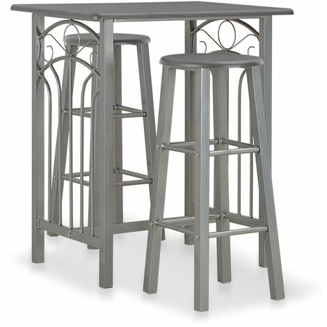 3 Piece Bar Set Wood and Steel Anthracite - Grey