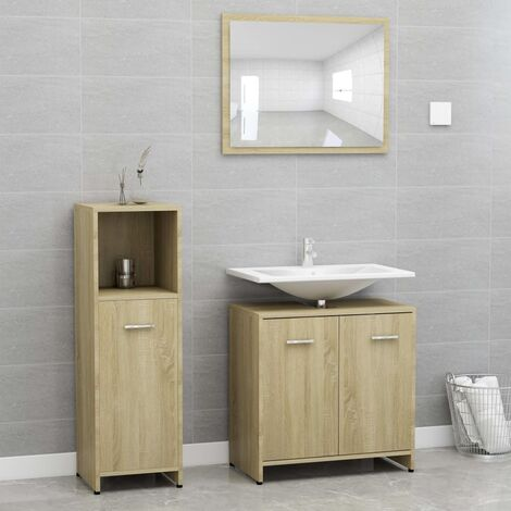 3 Piece Bathroom Furniture Set Sonoma Oak Chipboard