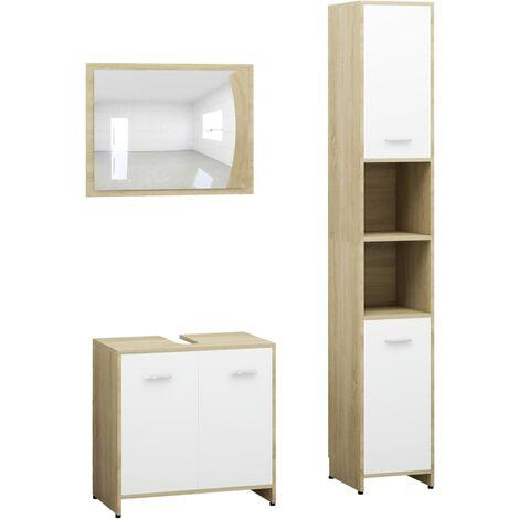 3 Piece Bathroom Furniture Set White and Sonoma Oak Chipboard