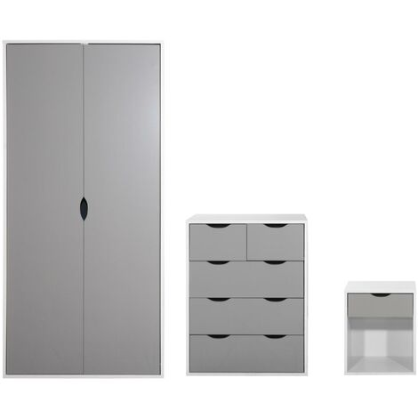 3 Piece Bedroom Furniture Set Wardrobe 3+2 Chest Drawers Bedside White & Grey