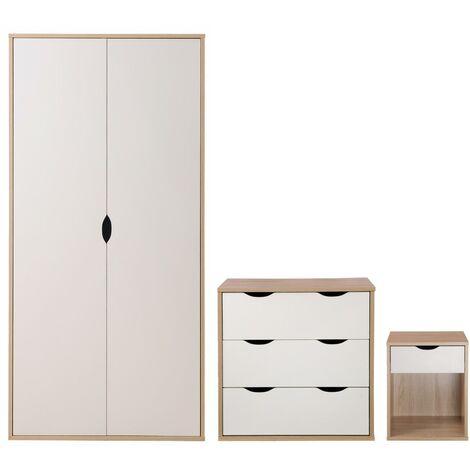 3 Piece Bedroom Furniture Set Wardrobe Chest 3 Drawers Bedside Oak & White