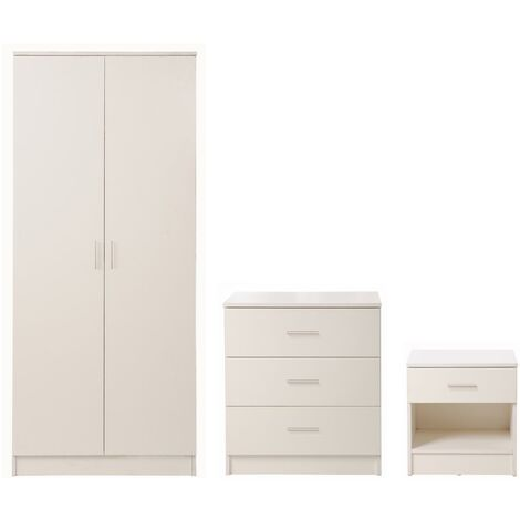 3 Piece Bedroom Furniture Set Wardrobe Chest Drawers Bedside Table White