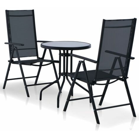 3 Piece Bistro Set Aluminium and Textilene Black