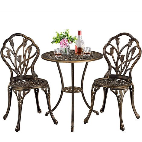"""main image of """"3 Piece Bistro Set for Garden, Metal Table and Chairs Cast Aluminium Flower Pattern Patio Furniture Set (Bronze)"""""""