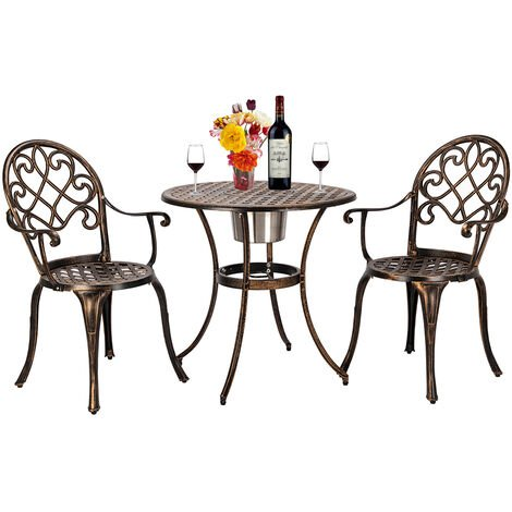 """main image of """"3 Piece Bistro Set for Garden, Metal Table and Chairs Cast Aluminium Patio Furniture Set with Ice Bucket (Bronze)"""""""