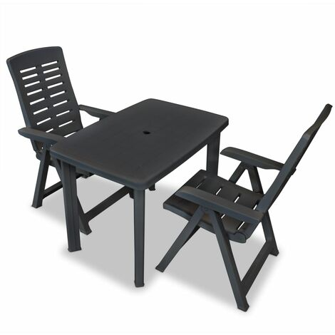 3 Piece Bistro Set Plastic Anthracite