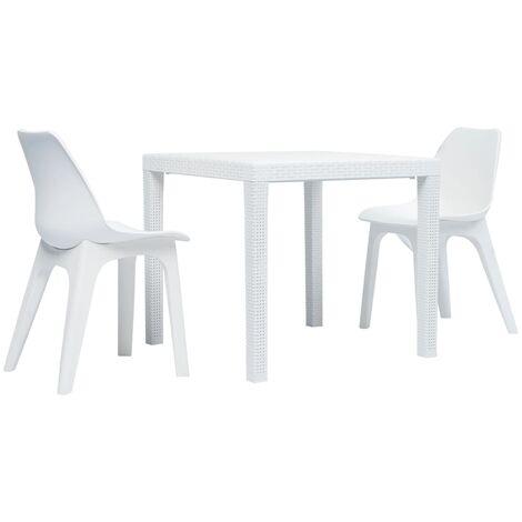3 Piece Bistro Set Plastic White