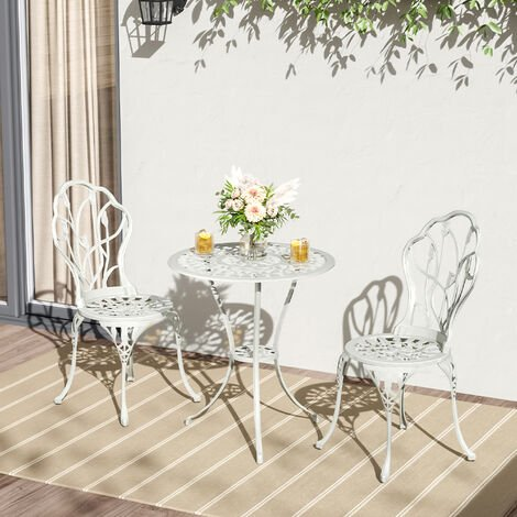 """main image of """"3 Piece Bistro Set Round Aluminum Patio Table with 2 Chairs"""""""