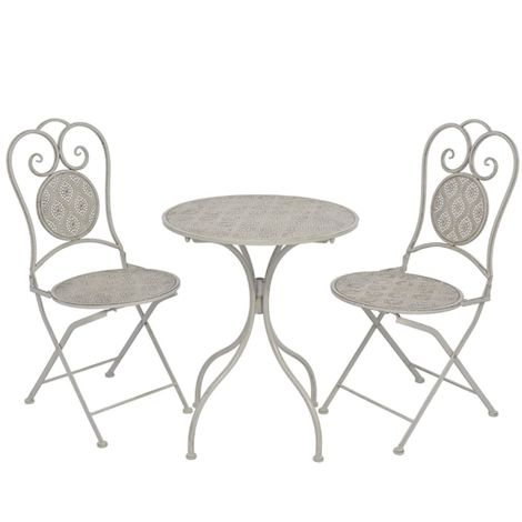 3 Piece Bistro Set Steel Grey