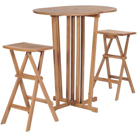 3 Piece Folding Bar Set Solid Teak Wood - Brown