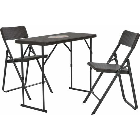 3 Piece Folding Bistro Set HDPE Brown Rattan Look
