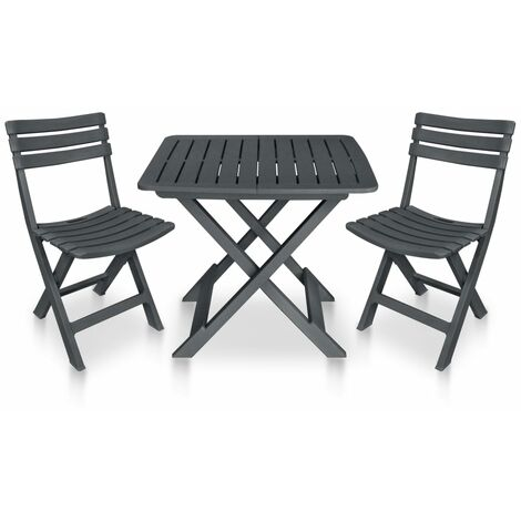3 Piece Folding Bistro Set Plastic Anthracite