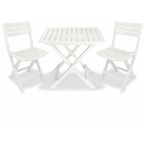 3 Piece Folding Bistro Set Plastic White