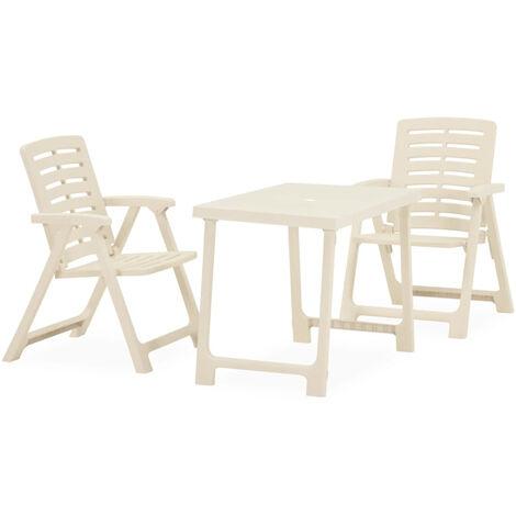 "main image of ""3 Piece Folding Bistro Set Plastic White"""