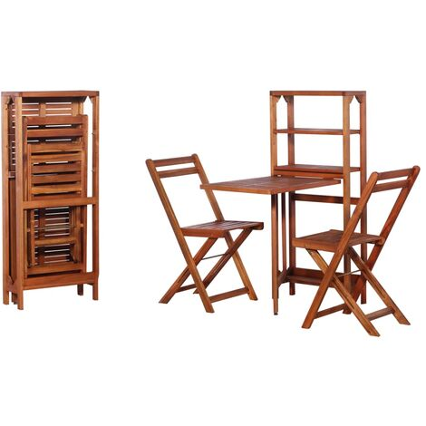 3 Piece Folding Bistro Set Solid Acacia Wood - Brown