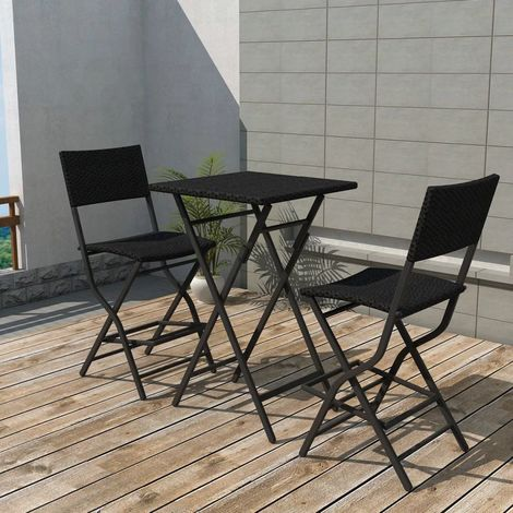 3 Piece Folding Bistro Set Steel Poly Rattan Black