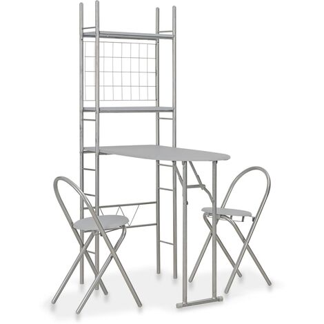 3 Piece Folding Dining Set with Storage Rack MDF and Steel Grey