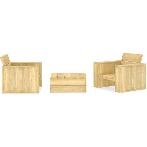 3 Piece Garden Lounge Set Impregnated Pinewood