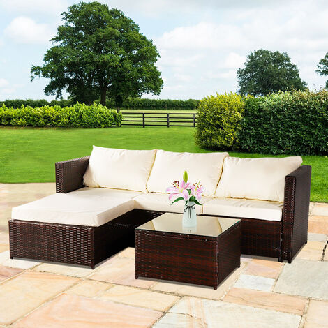"""main image of """"3-piece Garden Rattan Furniture Set Conjoined Sofa Pedal Coffee Table-Different Color"""""""